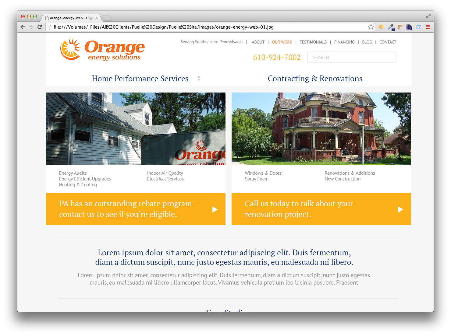 Orange Energy Solutions, Website