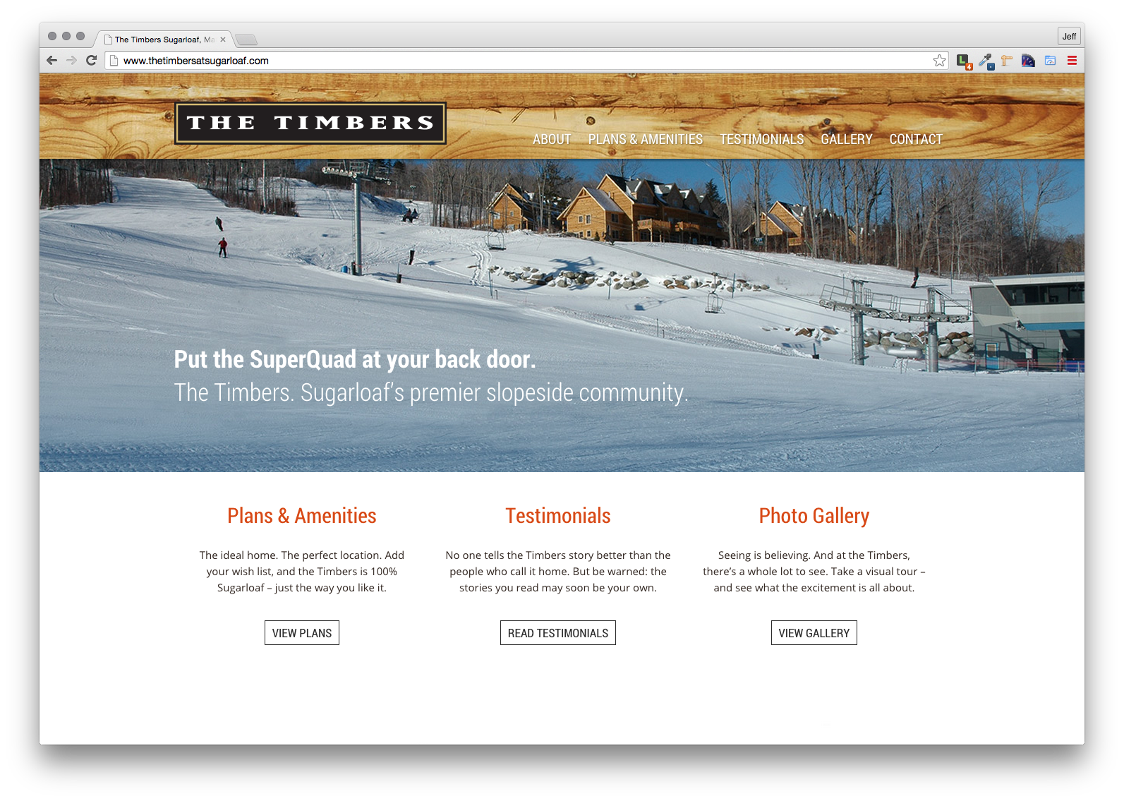 The Timbers at Sugarloaf, Website